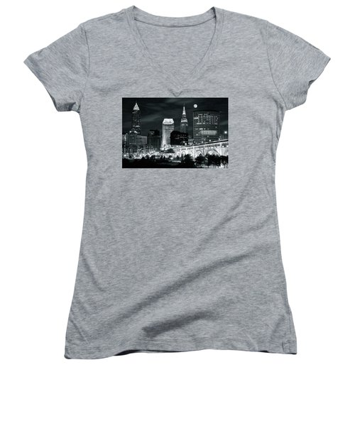 Cleveland Iconic Night Lights Women's V-Neck T-Shirt (Junior Cut) by Frozen in Time Fine Art Photography