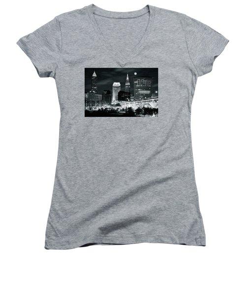 Cleveland Iconic Night Lights Women's V-Neck T-Shirt (Junior Cut)