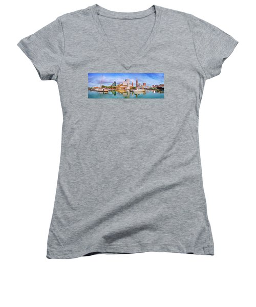 Women's V-Neck T-Shirt (Junior Cut) featuring the photograph Cleveland  Pano 1  by Emmanuel Panagiotakis