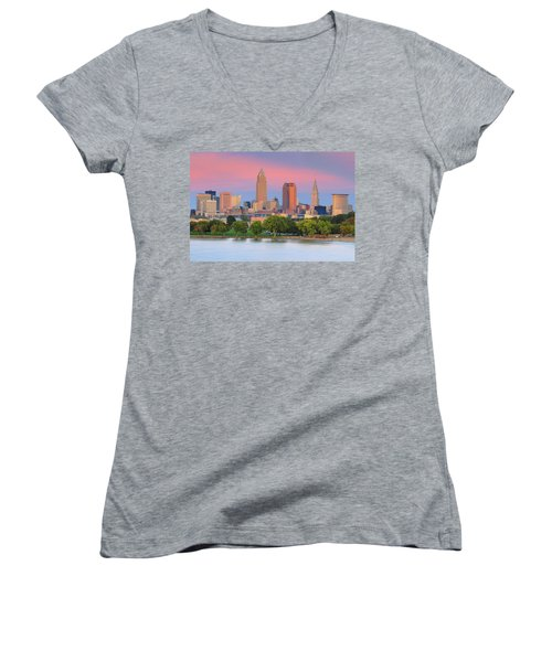 Women's V-Neck T-Shirt (Junior Cut) featuring the photograph Cleveland Skyline 6 by Emmanuel Panagiotakis