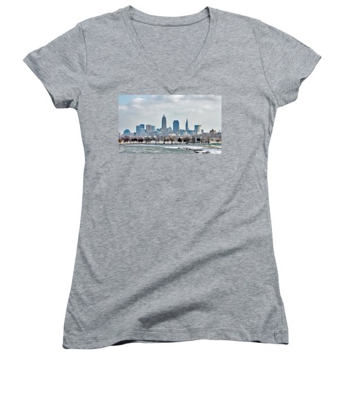 Cleveland Skyline In Winter Women's V-Neck T-Shirt (Junior Cut) by Bruce Patrick Smith