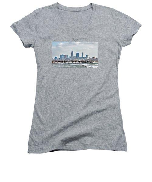 Cleveland Skyline In Winter Women's V-Neck T-Shirt
