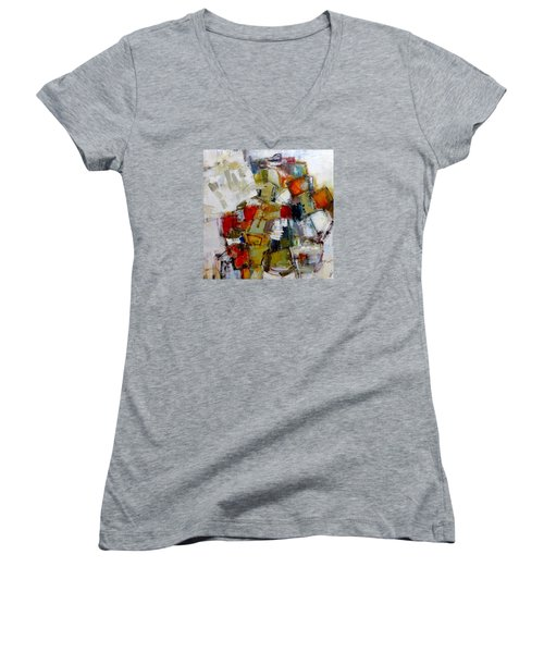 Women's V-Neck T-Shirt (Junior Cut) featuring the painting Clever Clogs by Katie Black