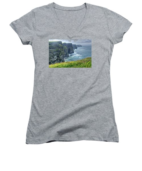 Cliffs Of Moher Women's V-Neck T-Shirt (Junior Cut) by Alan Toepfer