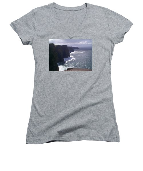 Women's V-Neck T-Shirt (Junior Cut) featuring the photograph Cliffs Of Moher by Charles Kraus