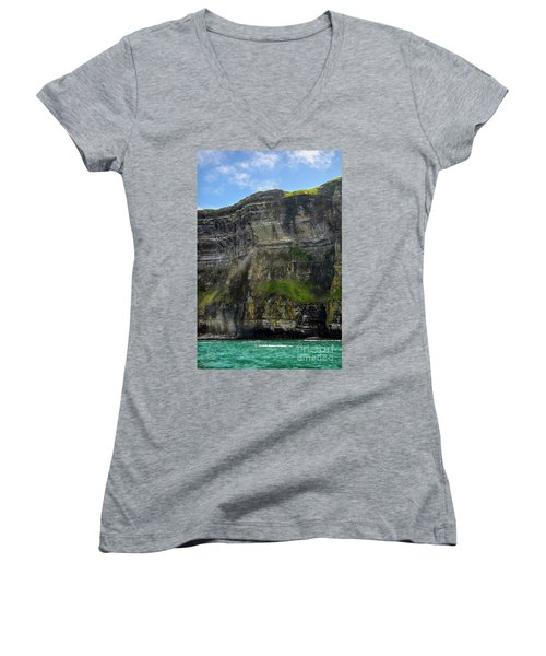 Women's V-Neck T-Shirt (Junior Cut) featuring the photograph Cliffs Of Moher From The Sea Close Up by RicardMN Photography