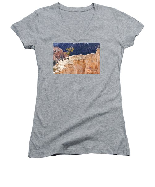 Clinging To The Top Of The Wall Women's V-Neck