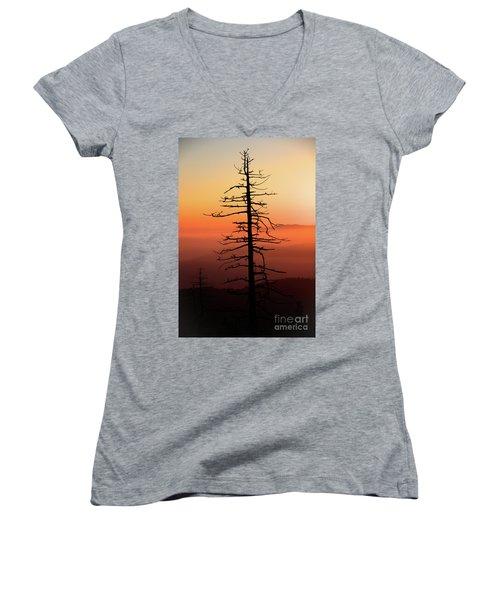 Women's V-Neck T-Shirt (Junior Cut) featuring the photograph Clingman's Dome Sunrise by Douglas Stucky