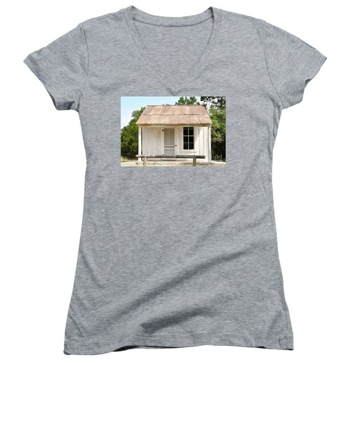 Women's V-Neck T-Shirt (Junior Cut) featuring the photograph Clint's Cabin - Texas - Close-up by Ray Shrewsberry