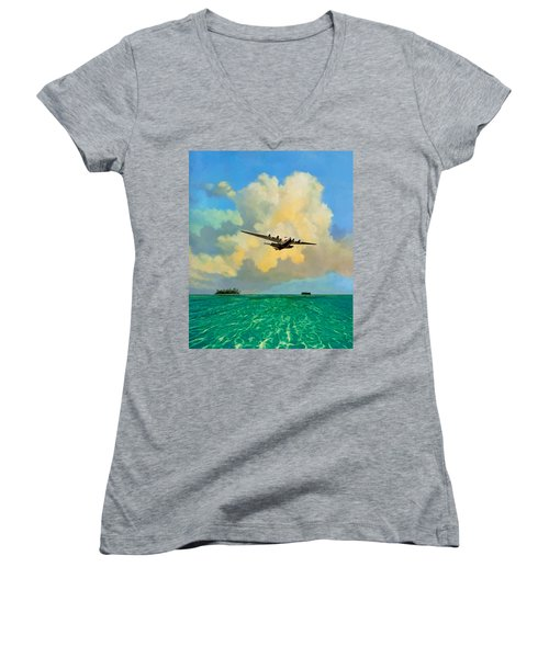 Clipper Over The Islands Women's V-Neck T-Shirt (Junior Cut) by David  Van Hulst