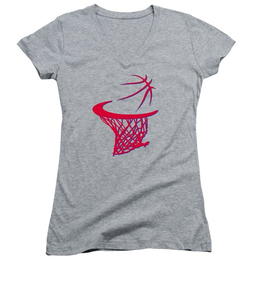 Clippers Basketball Hoop Women's V-Neck T-Shirt (Junior Cut) by Joe Hamilton