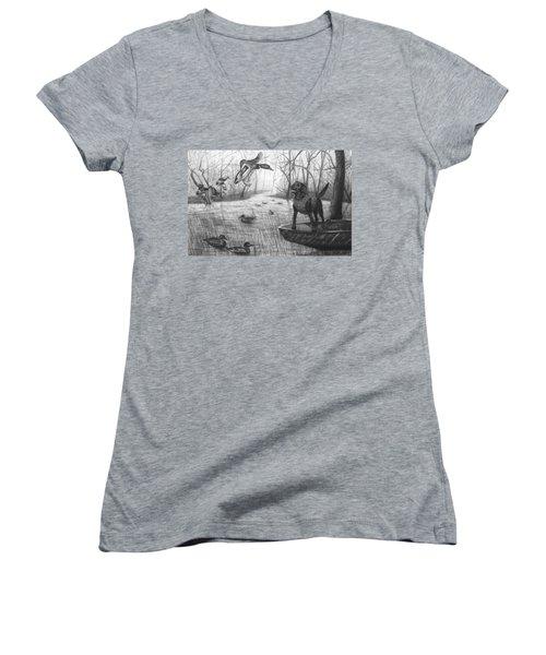 Cloaked Women's V-Neck T-Shirt (Junior Cut) by Peter Piatt