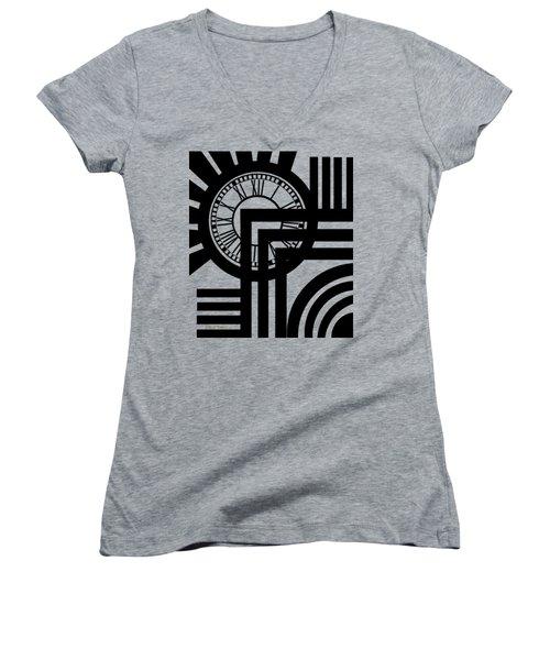 Clock Design Vertical Women's V-Neck T-Shirt (Junior Cut) by Chuck Staley