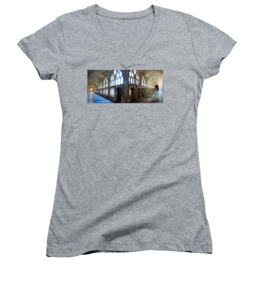 Cloisters, Gloucester Cathedral Women's V-Neck T-Shirt (Junior Cut) by Colin Rayner