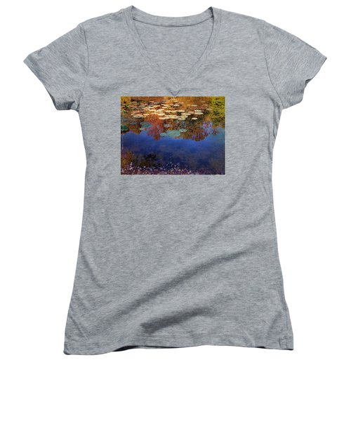 Close By The Lily Pond  Women's V-Neck T-Shirt