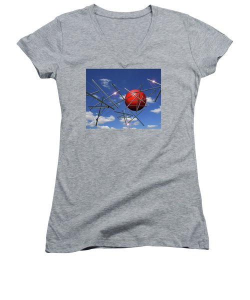 Women's V-Neck T-Shirt (Junior Cut) featuring the photograph Close Encounters by Christopher McKenzie