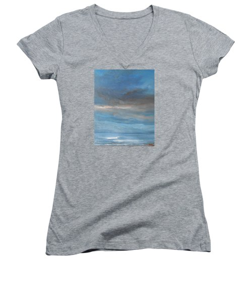Women's V-Neck T-Shirt (Junior Cut) featuring the painting Close Of Day by Jane See