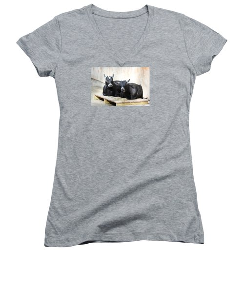 Women's V-Neck T-Shirt (Junior Cut) featuring the photograph Close To You by Trina  Ansel