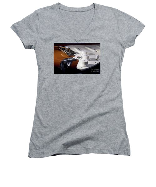 Women's V-Neck T-Shirt (Junior Cut) featuring the photograph Close Up Guitar by MGL Meiklejohn Graphics Licensing