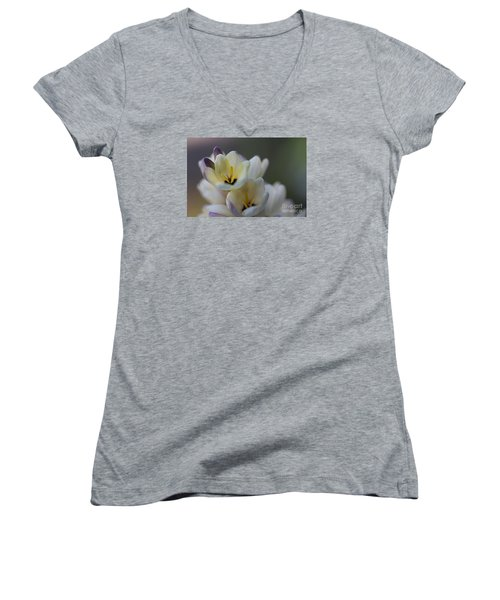 Close-up Of White Freesia Women's V-Neck (Athletic Fit)