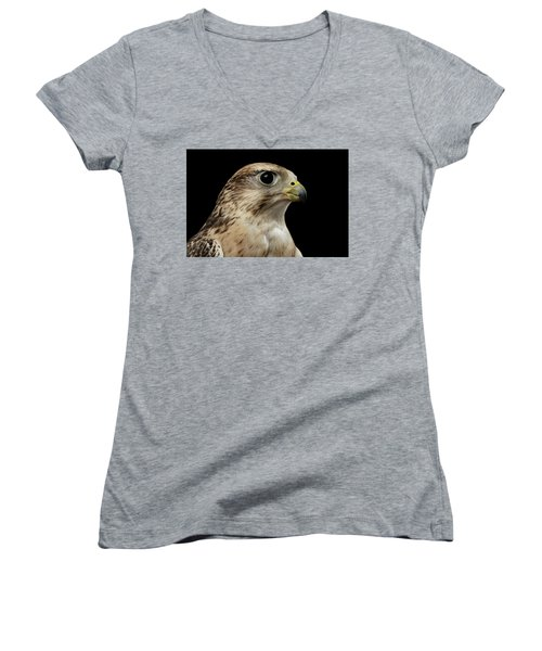 Close-up Saker Falcon, Falco Cherrug, Isolated On Black Background Women's V-Neck T-Shirt (Junior Cut) by Sergey Taran