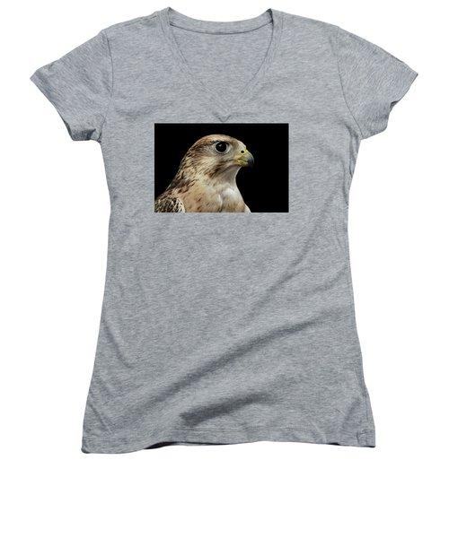 Close-up Saker Falcon, Falco Cherrug, Isolated On Black Background Women's V-Neck T-Shirt