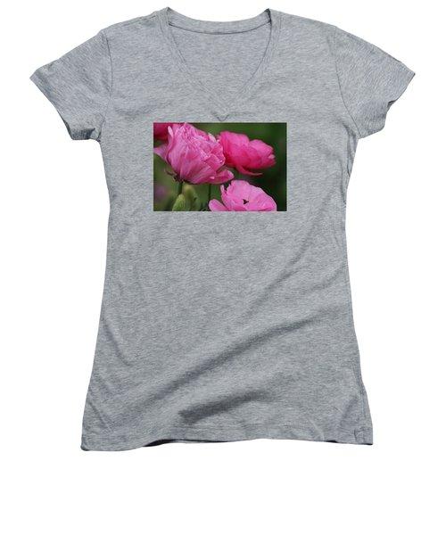 Closeup Deep Peony Pink Ranunculus Women's V-Neck (Athletic Fit)