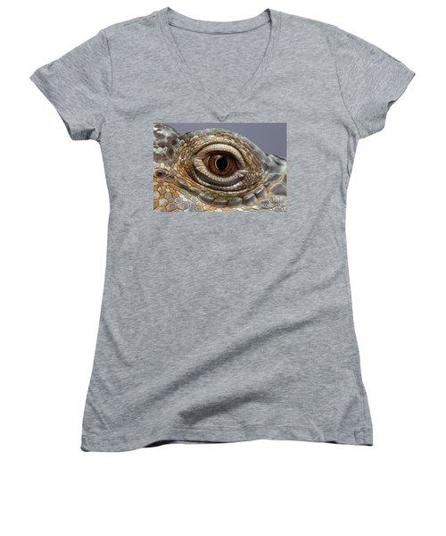Closeup Eye Of Green Iguana Women's V-Neck T-Shirt (Junior Cut) by Sergey Taran