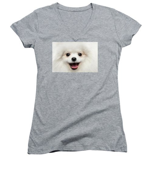Closeup Furry Happiness White Pomeranian Spitz Dog Curious Smiling Women's V-Neck