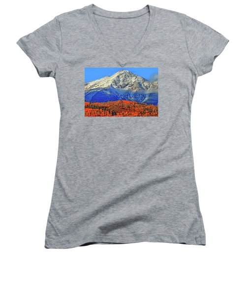 Women's V-Neck T-Shirt (Junior Cut) featuring the photograph Closing In On Fall by Scott Mahon