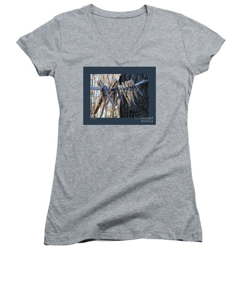 Women's V-Neck T-Shirt (Junior Cut) featuring the photograph Clothespins by Patricia Overmoyer