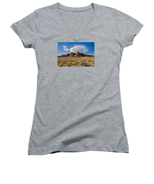 Cloud And Rocks Women's V-Neck (Athletic Fit)