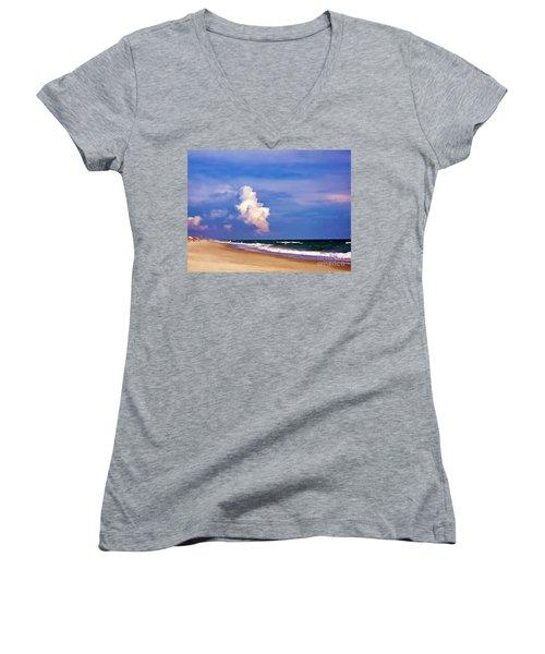Women's V-Neck T-Shirt (Junior Cut) featuring the photograph Cloud Approaching by Roberta Byram