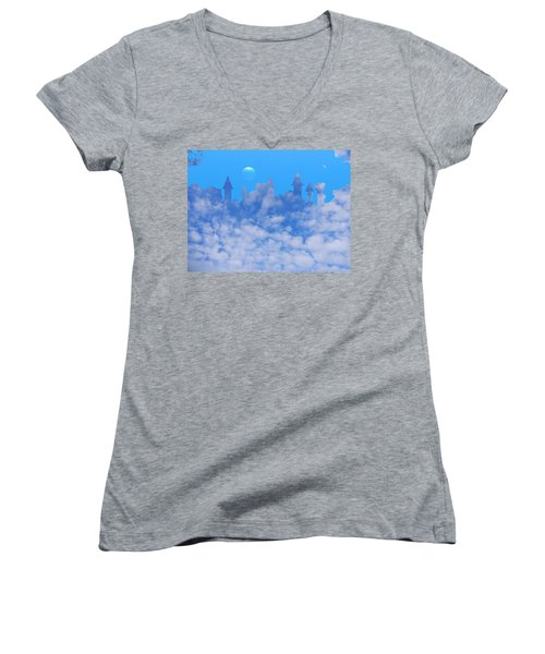 Cloud Castle Women's V-Neck T-Shirt (Junior Cut) by Mark Blauhoefer