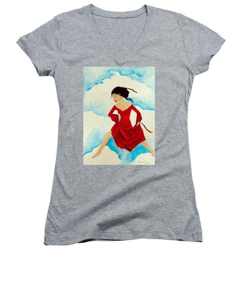 Cloud Dancing Of The Sky Warrior Women's V-Neck T-Shirt (Junior Cut)