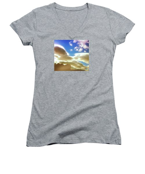 Women's V-Neck T-Shirt (Junior Cut) featuring the photograph Cloud Drama Over Sangre De Cristos by Anastasia Savage Ealy