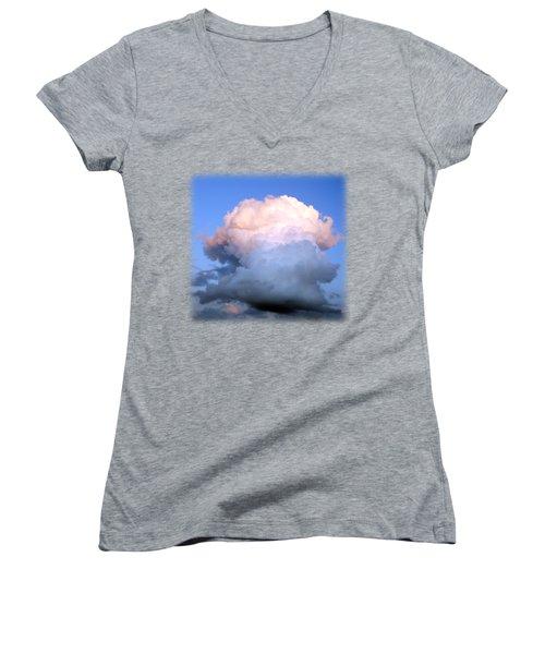 Cloud Explosion T-shirt Women's V-Neck T-Shirt (Junior Cut) by Isam Awad