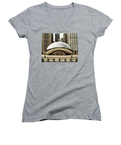 Cloud Gate - 3 Women's V-Neck T-Shirt (Junior Cut) by Ely Arsha