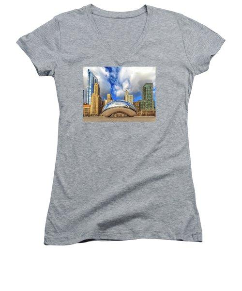Cloud Gate @ Millenium Park Chicago Women's V-Neck T-Shirt (Junior Cut) by Peter Ciro
