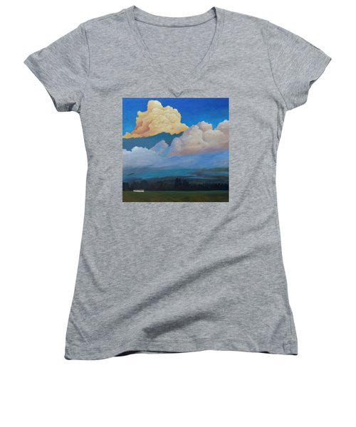 Women's V-Neck T-Shirt (Junior Cut) featuring the painting Cloud On The Rise by Gary Coleman