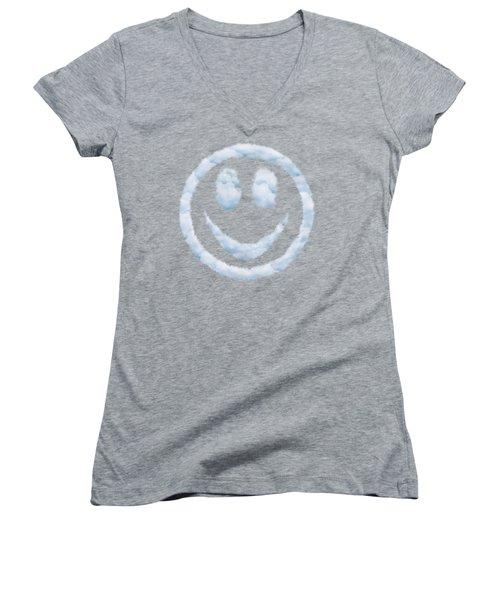 Cloud Smiley Women's V-Neck T-Shirt (Junior Cut) by Matt Malloy