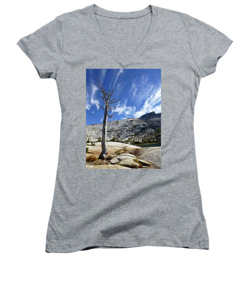 Cloud Stretch Lower Cathedral Lake Women's V-Neck T-Shirt (Junior Cut) by Amelia Racca