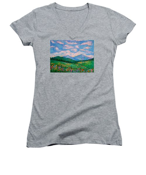 Cloud Swirl Over The Peaks Of Otter Women's V-Neck T-Shirt (Junior Cut) by Kendall Kessler