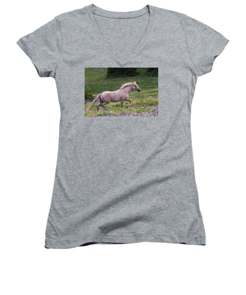 Cloud- Wild Stallion Of The West Women's V-Neck