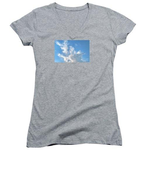 Cloud Wisps Too Women's V-Neck T-Shirt (Junior Cut) by Audrey Van Tassell
