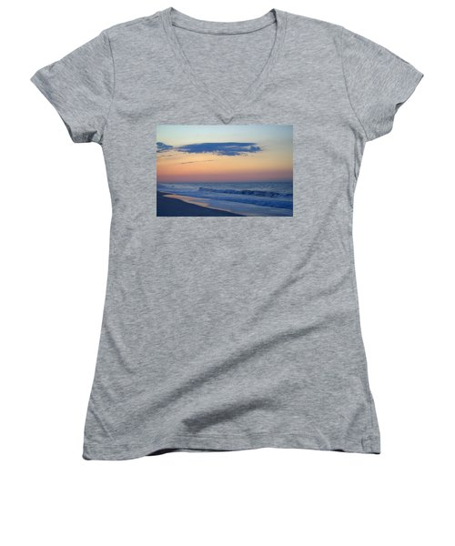 Women's V-Neck T-Shirt (Junior Cut) featuring the photograph Clouded Pre Sunrise by  Newwwman