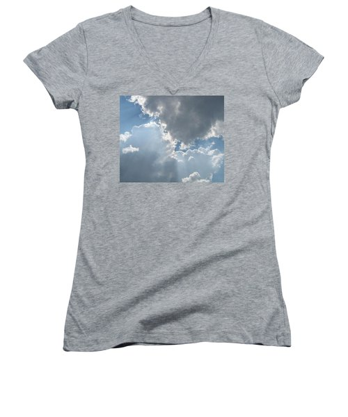 Clouds 1 Women's V-Neck T-Shirt (Junior Cut) by Barbara Yearty