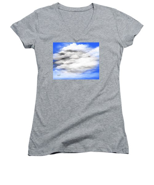 Clouds 2 Women's V-Neck T-Shirt (Junior Cut) by Walter Chamberlain