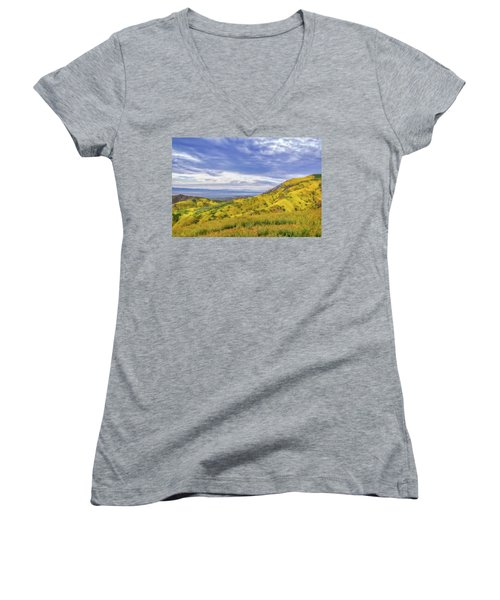 Women's V-Neck T-Shirt (Junior Cut) featuring the photograph Clouds Above Temblor Range by Marc Crumpler