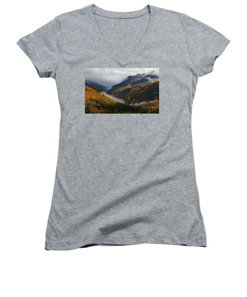 Clouds And Fog Encompass Autumn At Mcclure Pass In Colorado Women's V-Neck T-Shirt